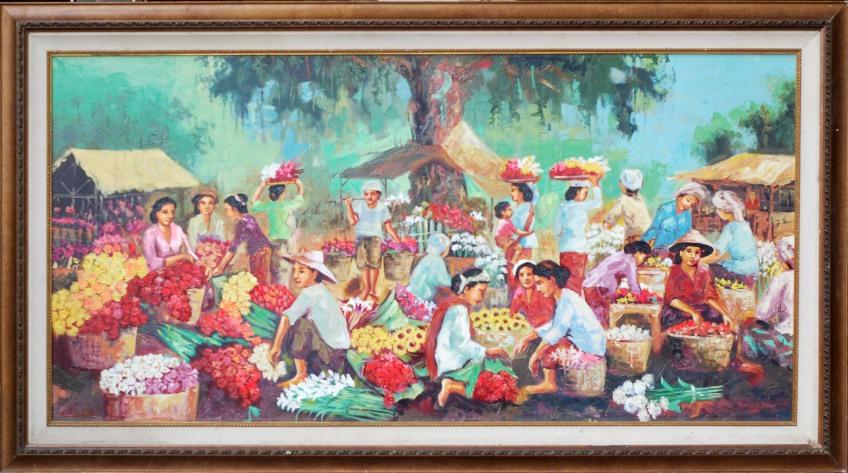 Lukisan Pasar Bunga, pigura lukisan - 0857.3133.6051 - https://jualpigurasurabaya.wordpress.com/